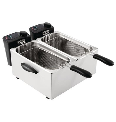 Caterlite Friteuse Double | 2x 3,5 Litres | 2x 2kW/230V | Paniers Inclus | 415x429x240(h)mm