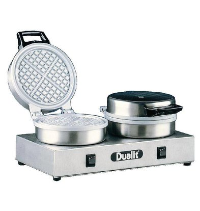 Dualit Gaufrier Double Rond  | 4 Gaufres Triangulaires | 1600W | 400x220x190(h)mm