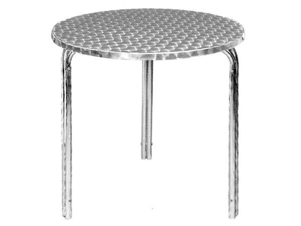 Chrselect table de terrasse ronde plateau inox pieds - Table de terrasse aluminium ...