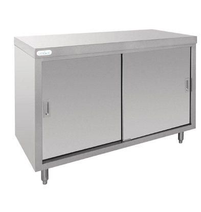 CHRselect Comptoir Inox + 2 Portes Coulissantes - 1200x600x900(h)mm