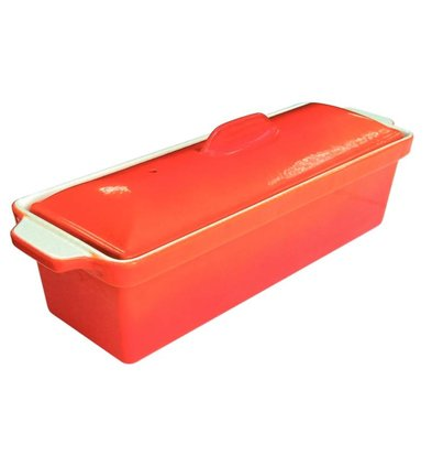 CHRselect Terrine à Pâté En Fonte - Orange - Plat Trempé Anti-Adhésif - 1300ml - 310(L)x100(l)x90(H)mm