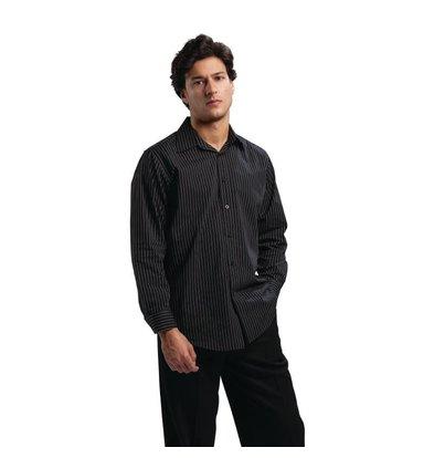 CHRselect Chemise Manches Longues à Fines Rayures - Polyester/Coton - Disponibles En 4 Tailles