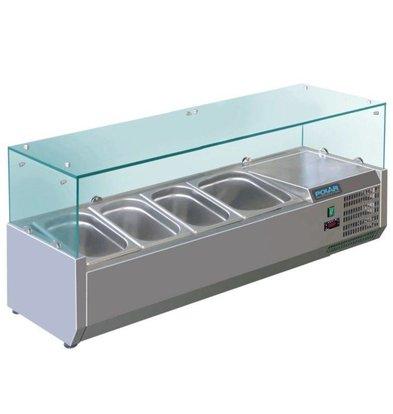 Polar Vitrine Réfrigérée Inox Pour 3x GN1/3 Et 1x GN1/2 - 395(p)x1200(l)x435(h)mm