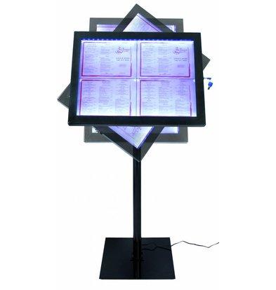 Securit Vitrine dAffichage Menus LED | 4x A4 | Inox Noir | Set COMPLET avec Pied
