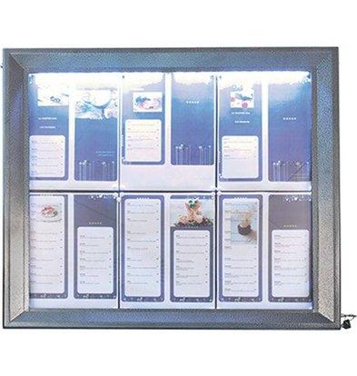Securit Vitrine d'Affichage Menus  6x A4 - LED - Acier | PIED VENDU SEPAREMENT