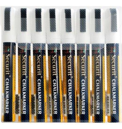 Securit Lot De 8 Feutres Craie - 2-6mm Blancs