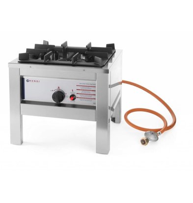 Hendi Réchaud à Gaz Inox - Modèle Big Flame - 6,7kW - 425x425x400(h)mm
