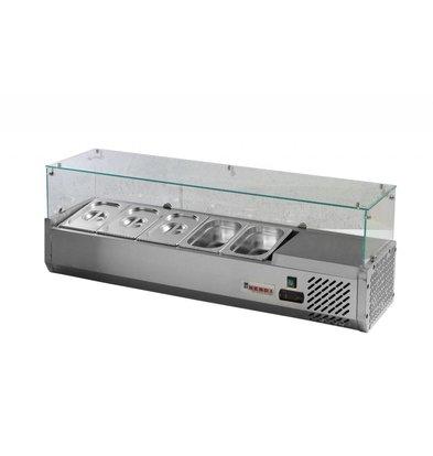 Hendi Vitrine Réfrigérée Inox | 5x GN1/4 | 1300x410x470(h)mm