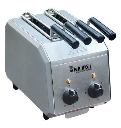 Hendi Toaster Inox - Minuteur Réglable - Tiroir Pour Miettes Amovible - 1,2kW - 300x200x223(h)mm