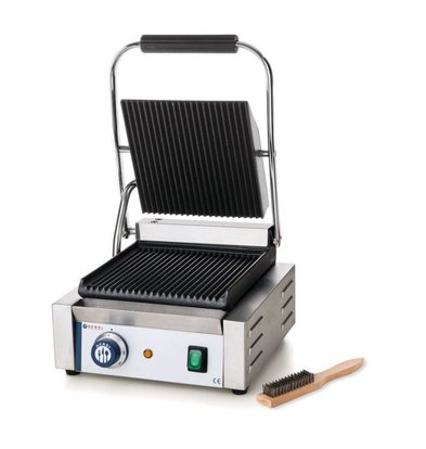 Hendi Grill de Contact Simple - Rainuré - 230V/1,8kW - 290x370x210(h)mm