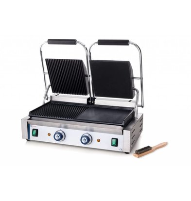 Hendi Grill de Contact Double - Rainuré/Lisse - 230V/3,6kW - 570x370x210(h)mm