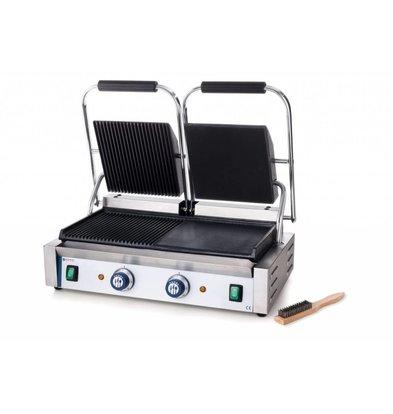 Hendi Grill de Contact Double - Rainuré/Lisse - 230V/3,6kW - 570x370x210(h)mm
