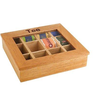 Hendi Boîte à Thé en Bois - Vitre en Acryl - 12 Compartiments - 300x280x90(h)mm