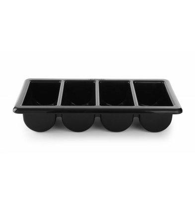 Hendi Bac à Couvert GN 1/1 | 4 Compartiments | Noir | 100mm