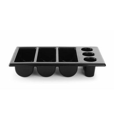 Hendi Bac à Couvert GN 1/1 | 6 Compartiments | Noir | 105mm