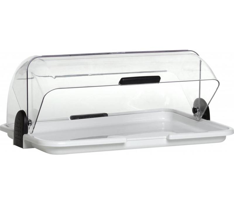 Hendi vitrine couvercle rolltap transparent abs for Vitrine plastique transparent