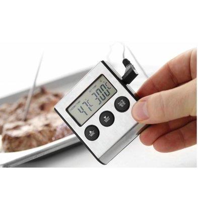 Hendi Thermomètre/Minuteur Pour Rôtir 0/300°C | Sonde Inox 150mm | 65x70x17(h)mm
