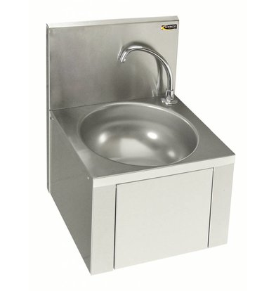 Sofinor Lave-Mains Inox AISI 304 | Commande au Genou | Sans Mélangeur | 384x353x(H)524mm
