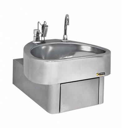 Sofinor Lave-Mains Inox AISI 304 | Commande au Genou | Clinium Deluxe - Modèle Hôpital | 460x436x(H)270mm
