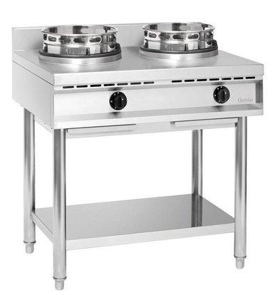 Bartscher Cuisinière à Wok Inox - 2 Brûleurs - 23kW - 900x600x960(h)mm