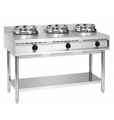Bartscher Cuisinière à Wok Inox - 3 Brûleurs - 34,5kW - 1500x600x960(h)mm