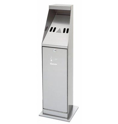 Bartscher Cendrier Sur Colonne Inox | 5,5 Litres | Facile à Vider | 240x240x870(h)mm