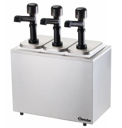 Bartscher Pompe à Sauce Inox - Pompe en Polycarbonate - 3x 3300ml - 394x224x456(h)mm