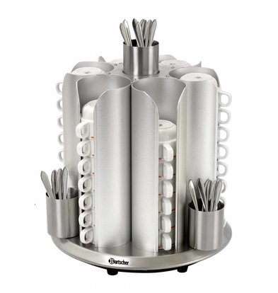 Bartscher Chauffe-Tasses Inox | Modèle de Comptoir | 48 Tasses | 200W | Ø350-405(h)mm