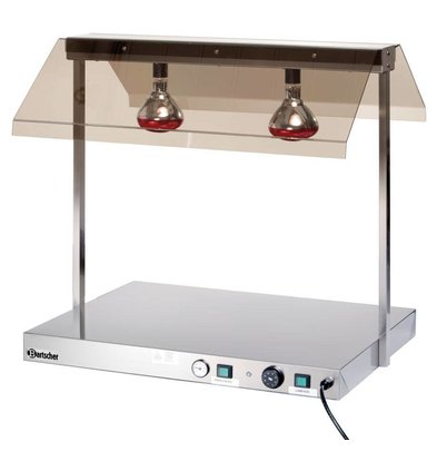 Bartscher Planche à Trancher Inox + 2 Lampes Chauffantes - 950W - 850x650x800(h)mm