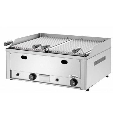 Bartscher Grill à Pierres De Lave à Gaz Inox - Modèle De Table + Grill - 8kW - 660x570x282(h)mm