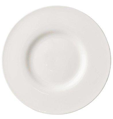 CHRselect Assiette Lumina | Bord Extra Large | Porcelaine Blanche | Ø285mm | 4 Pièces