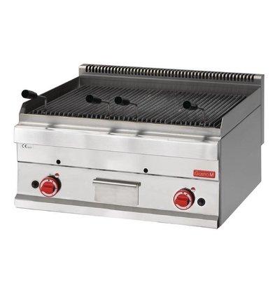 CHRselect Grill à Pierre de Lave Inox   Gaz   Bac à Eau   11kW   650x700x280(h)mm
