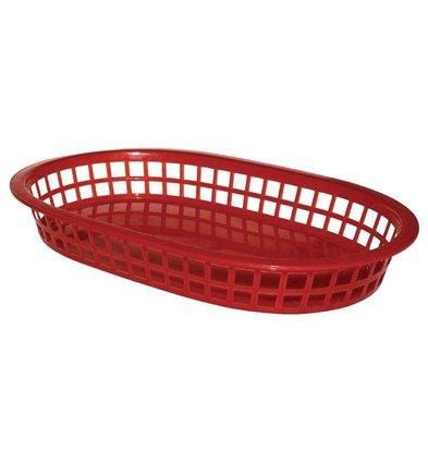 CHRselect Panière Alimentaire Ovale | Polypropylène Rouge | 275x175x40(h)mm | 6 Pièces
