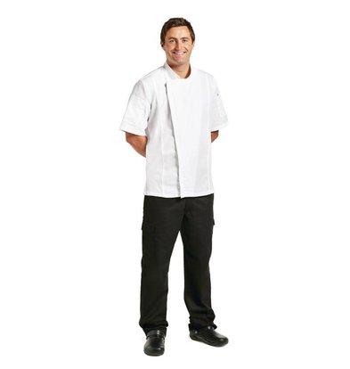 CHRselect Veste Chef + Fermeture Éclair   Blanc   Manches Courtes   Disponible en 4 Tailles