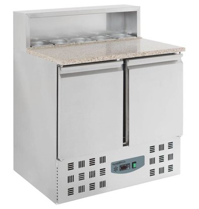 CHRselect Comptoir à Pizza Inox | 2 Portes | 5x GN1/6 | 830x600x460(h)mm