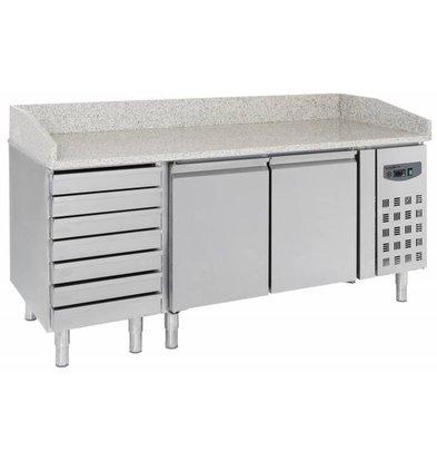 CHRselect Comptoir à Pizza Inox   2 Portes et 7 Tiroirs   2030x800x1000(h)mm