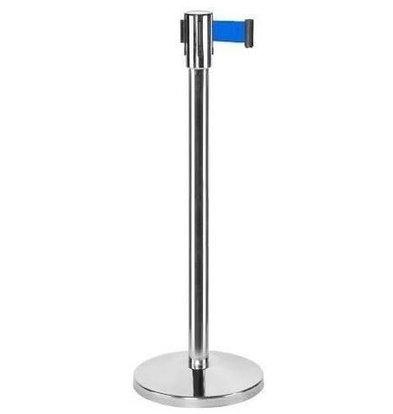 CHRselect Pilier de Barrière Chrome | 9kg | Corde Rectable Bleu -180cm