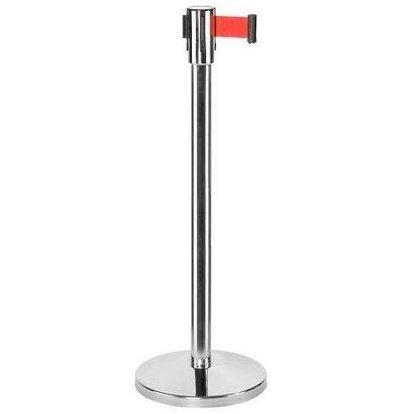 CHRselect Pilier de Barrière Chrome | 9kg | Corde Rectable Rouge -180cm