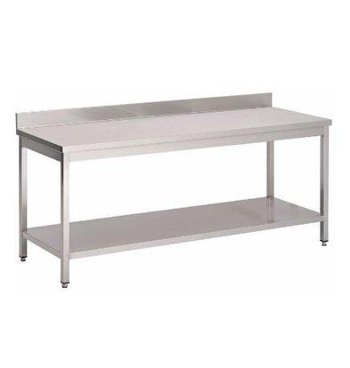 Gastro M Table de Travail Inox + Rebord + Étagère Basse   USAGE INTENSIF   700(p)x850(h)mm   8 Largeurs Différentes