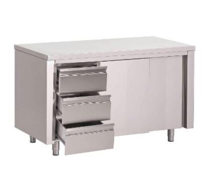 meubles de travail inox 3 tiroirs usage intensif 700 p x850 h mm 5 largeurs diff rentes. Black Bedroom Furniture Sets. Home Design Ideas