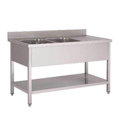 Gastro M Table de Prélavage Inox   2 Eviers + Étagère Basse   USAGE INTENSIF   1600x700x850(h)mm