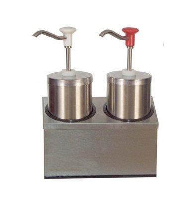 Saro Distributeur de Sauces INOX avec Poussoir   2x 2,25 Litres
