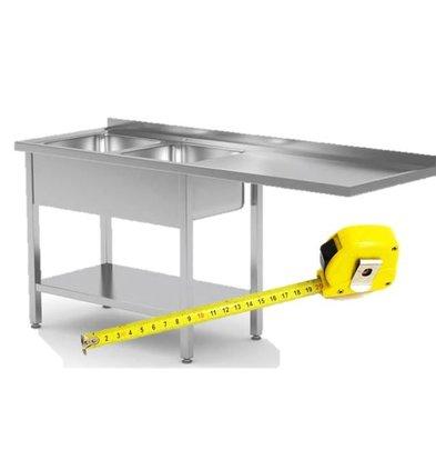 CHRselect Table de Prélavage INOX pour Lave-Vaisselle Chargement Frontale ou à Capot | FAIT SUR MÉSURE