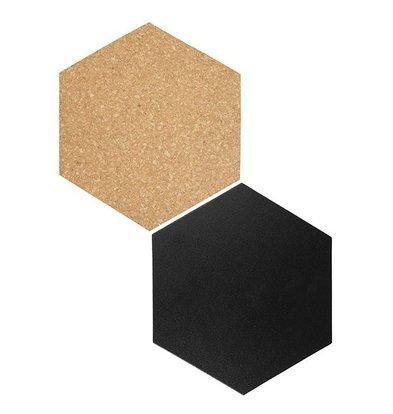 Securit Hexagones de Décoration | 4x Ardoise, 3x Liège | Incl. Craie et Velcro |155x180mm