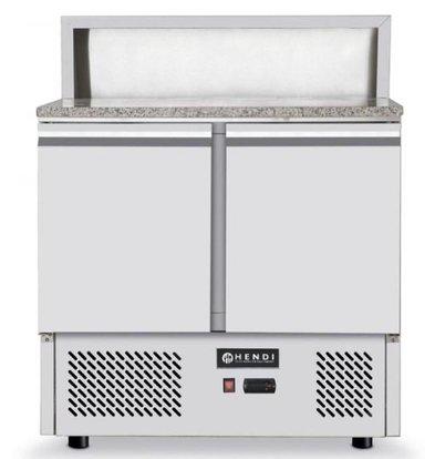 Hendi Comptoir à Pizza Inox   2 Portes   Froid Ventilé   900x690x1100(h)mm