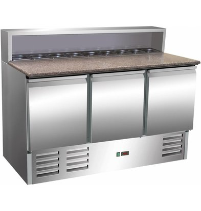 Saro Comptoir à Pizza INOX   3 Portes   Avec 8x 1/6GN   1370x700x1100(h)mm