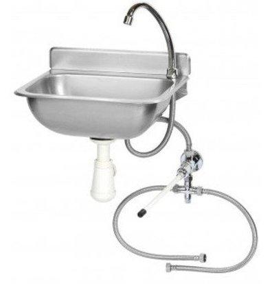 Saro Lave-mains avec Mélangeur INOX | Commande Genou | 375x310x190(h)mm
