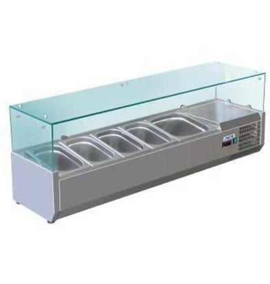 Saro Présentoir Saladette INOX | 3x 1/2GN | 1400x335x435(h)mm