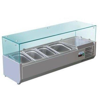 Saro Présentoir Saladette INOX | 5x 1/4GN | 1200x335x435(h)mm