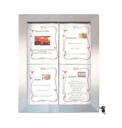 Securit Vitrine d'Affichage Menus 4x A4 - LED - Deluxe - PIED VENDU SEPAREMENT
